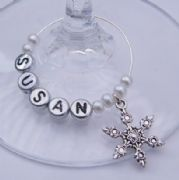 Frosty Snowflake Personalised Wine Glass Charm